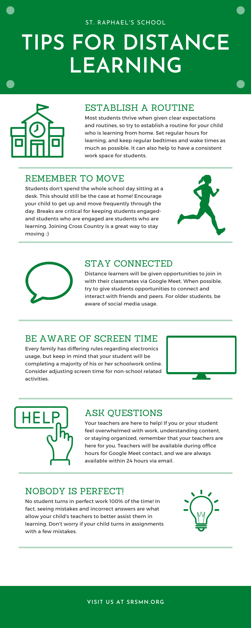 Tips for distance learning infographic